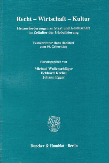 Cover: Recht - Wirtschaft - Kultur