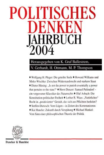Cover: Politisches Denken. Jahrbuch 2004