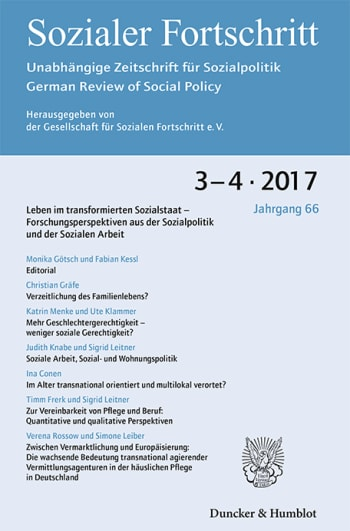 Cover: Leben im transformierten Sozialstaat – Forschungsperspektiven aus der Sozialpolitik und der Sozialen Arbeit