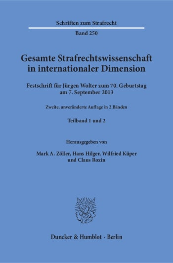 Cover: Gesamte Strafrechtswissenschaft in internationaler Dimension