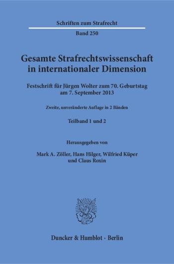 Cover: Gesamte Strafrechtswissenschaft in internationaler Dimension