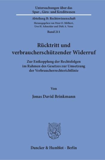 Cover: Rücktritt und verbraucherschützender Widerruf