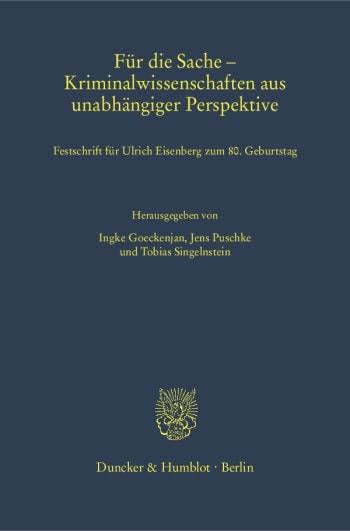 Cover: Für die Sache – Kriminalwissenschaften aus unabhängiger Perspektive