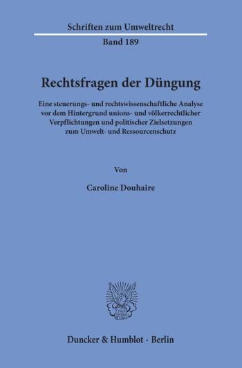 Cover: Rechtsfragen der Düngung