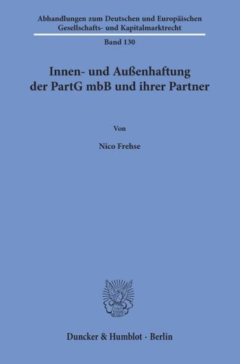 Cover: Innen- und Außenhaftung der PartG mbB und ihrer Partner