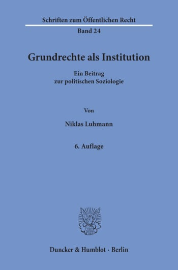 Cover: Grundrechte als Institution
