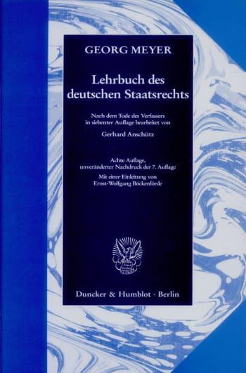 Cover: Lehrbuch des deutschen Staatsrechts