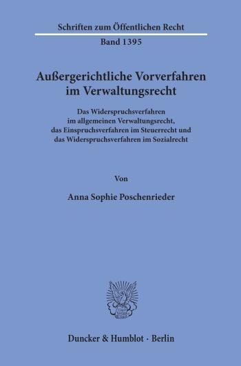 Cover: Außergerichtliche Vorverfahren im Verwaltungsrecht