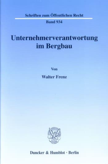 Cover: Unternehmerverantwortung im Bergbau
