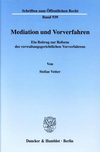 Cover: Mediation und Vorverfahren