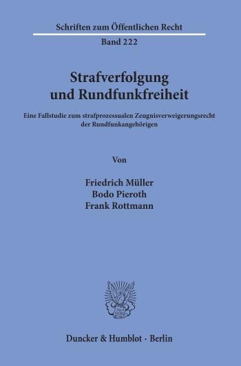 Cover: Strafverfolgung und Rundfunkfreiheit