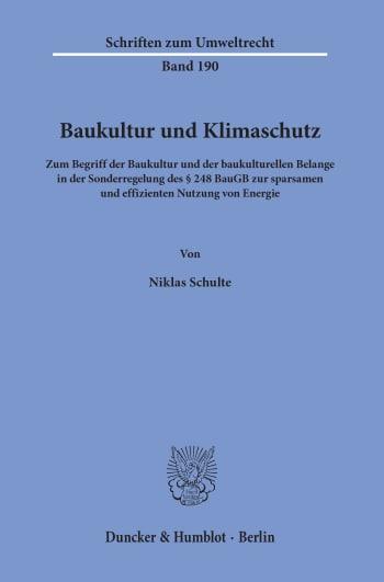 Cover: Baukultur und Klimaschutz