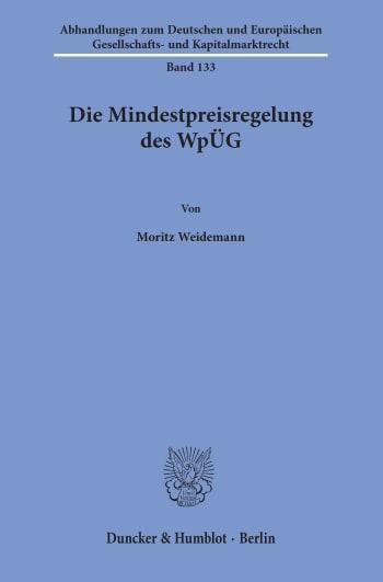 Cover: Die Mindestpreisregelung des WpÜG