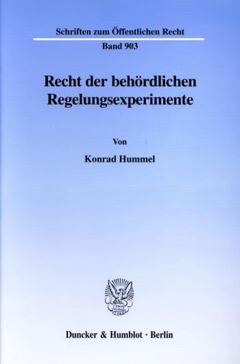 Cover: Recht der behördlichen Regelungsexperimente