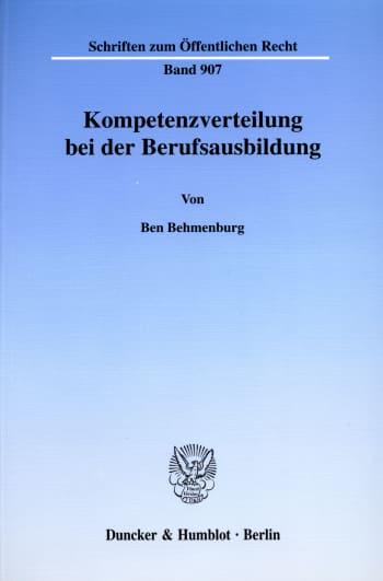 Cover: Kompetenzverteilung bei der Berufsausbildung