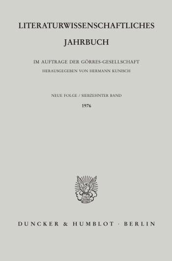 Cover: Literaturwissenschaftliches Jahrbuch