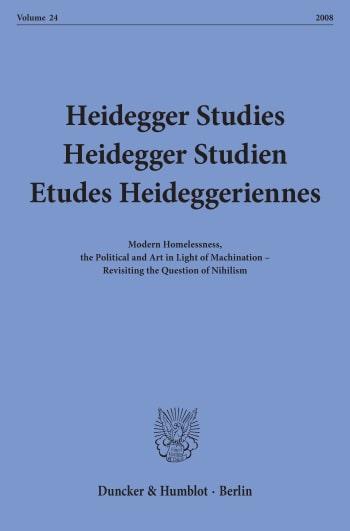 Cover: Heidegger Studies / Heidegger Studien / Etudes Heideggeriennes