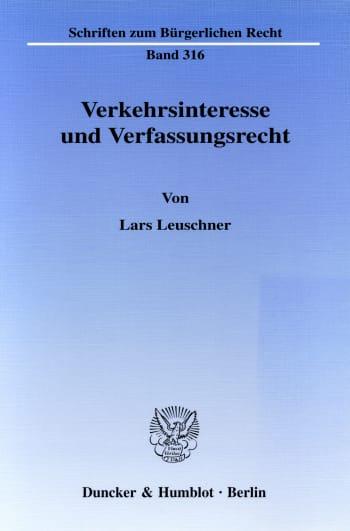 Cover: Verkehrsinteresse und Verfassungsrecht
