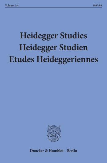 Cover: Heidegger Studies / HeideggerStudien / Etudes Heideggeriennes