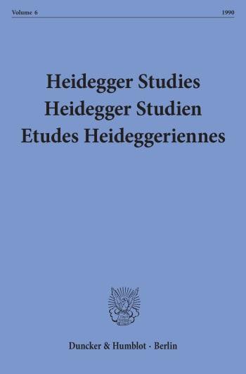Cover: Heidegger Studies/ Heidegger Studien / Etudes Heideggeriennes