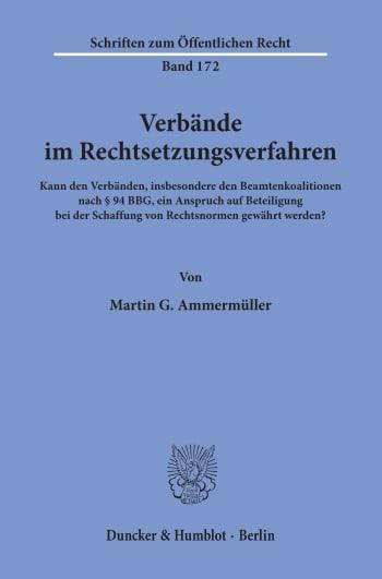Cover: Verbände im Rechtsetzungsverfahren