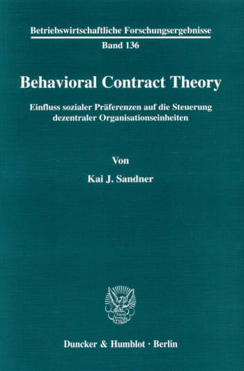 Cover: Behavioral Contract Theory