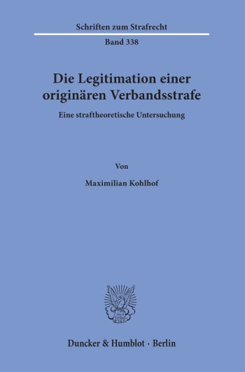Cover: Die Legitimation einer originären Verbandsstrafe