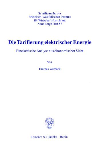 Cover: Die Tarifierung elektrischer Energie