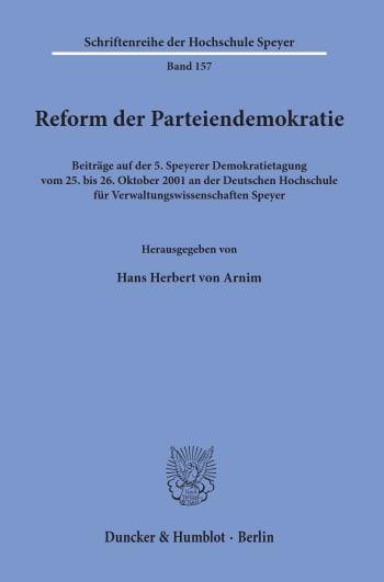 Cover: Reform der Parteiendemokratie