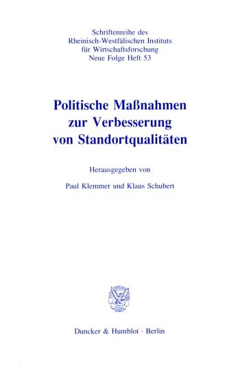 Cover: Politische Maßnahmen zur Verbesserung von Standortqualitäten