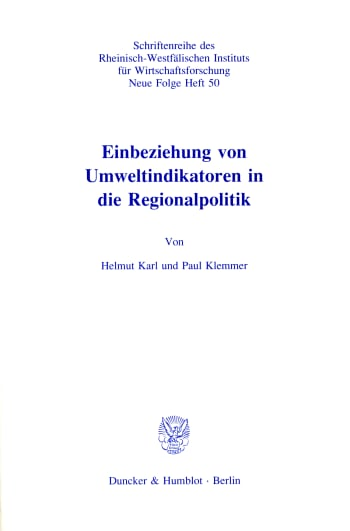 Cover: Einbeziehung von Umweltindikatoren in die Regionalpolitik