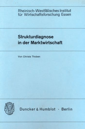 Cover: Strukturdiagnose in der Marktwirtschaft