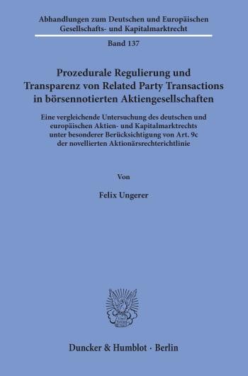 Cover: Prozedurale Regulierung und Transparenz von Related Party Transactions in börsennotierten Aktiengesellschaften