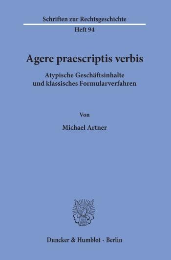Cover: Agere praescriptis verbis