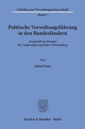 Cover: Politische Verwaltungsführung in den Bundesländern