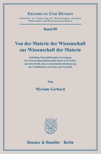 Cover: Von der Materie der Wissenschaft zur Wissenschaft der Materie
