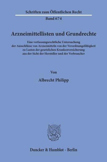 Cover: Arzneimittellisten und Grundrechte