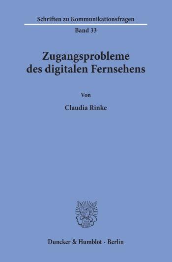 Cover: Zugangsprobleme des digitalen Fernsehens