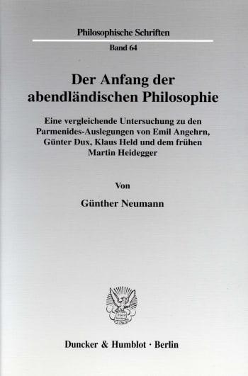 Cover: Der Anfang der abendländischen Philosophie