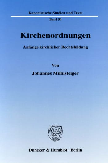 Cover: Kirchenordnungen