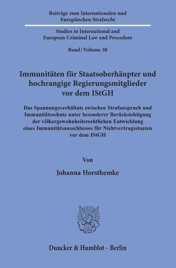 Cover: Immunitäten für Staatsoberhäupter und hochrangige Regierungsmitglieder vor dem IStGH