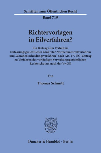 Cover: Richtervorlagen in Eilverfahren?
