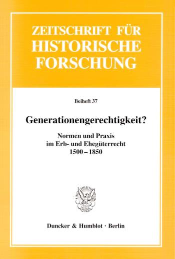 Cover: Generationengerechtigkeit?