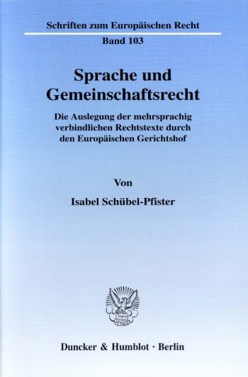 Cover: Sprache und Gemeinschaftsrecht