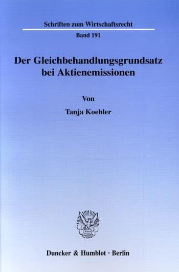 Cover: Der Gleichbehandlungsgrundsatz bei Aktienemissionen