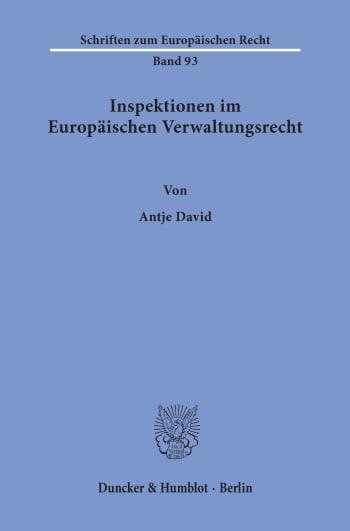 Cover: Inspektionen im Europäischen Verwaltungsrecht