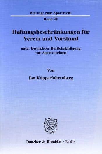 Cover: Haftungsbeschränkungen für Verein und Vorstand