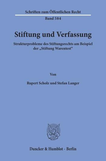 Cover: Stiftung und Verfassung