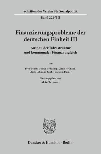 Cover: Finanzierungsprobleme der deutschen Einheit III