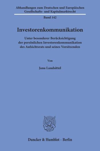 Cover: Investorenkommunikation